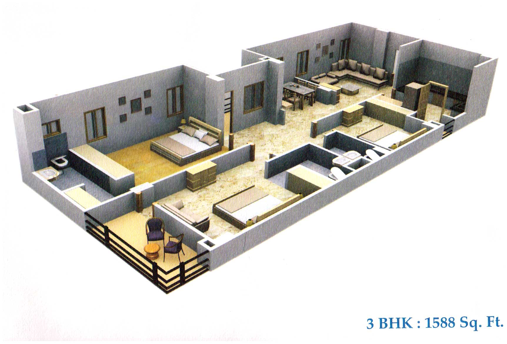 Prayas udaipur rajasthan india 2 3 bhk apartments in 3 bhk home design