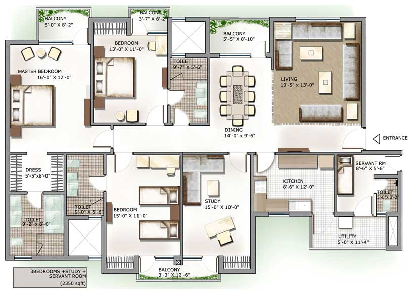 3 Bedroom Apartment Floor Plans India Fine