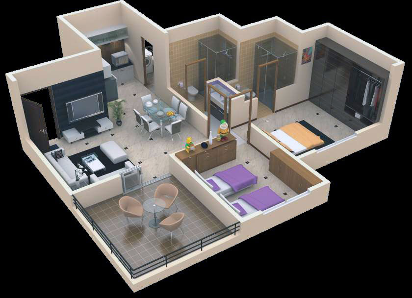 Buat testing doang 3 bhk interior design projects for Interior designs for flats