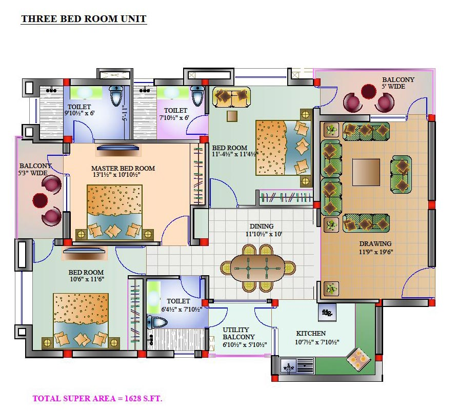 Bedroom House Plans India Three Bedroom House Plans India 3 Bedroom ...