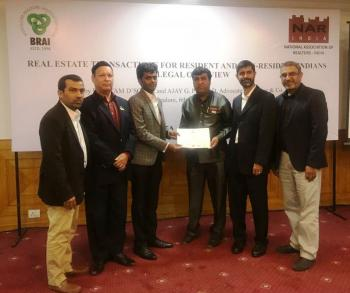 Presented by m/s Kochar & Co - Advocates  Mr Preetam D'Sauza , Mr Ajay g Prasad , accompanied by President - BRAI NRB Garda, Brai Treasurer - N A Afzal , Brai -Mr Nasir Shariff
