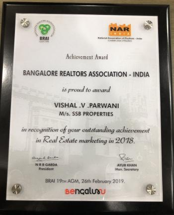Award certificate of outstanding achievement in realestate marketing -2019