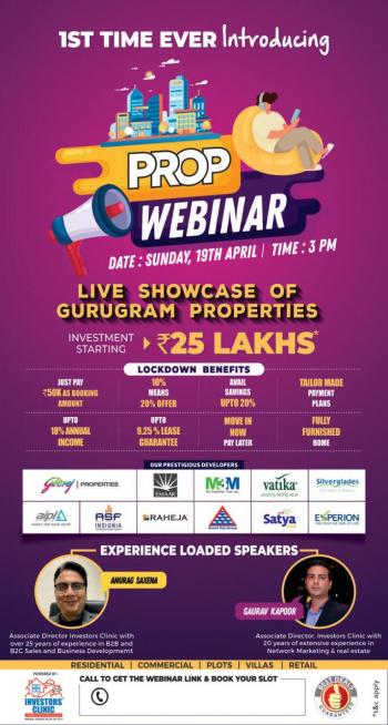 We welcome you at our prop webinar  live showcase of gurugram properties..   We have a great lockdown offers  by every developer.... #m3m #vatika #ats #godrej #dlf #aipl #experion....   Our real estate experts will guide u....   Join us 19th April to disc