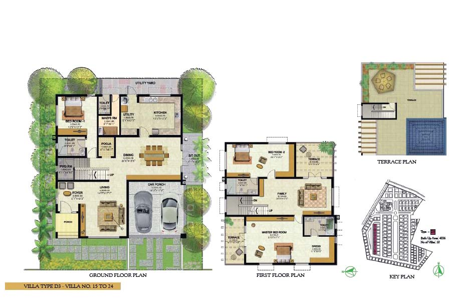 Prestige royal woods hyderabad telangana india luxury Villa floor plans india