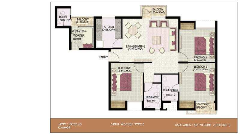3 BHK Flats & Apartments for Sale in Noida - 100 Acre