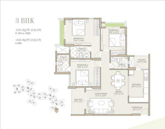 3 BHK Flats & Apartments for Sale in Whitefield, Bangalore - 1610 Sq. Feet