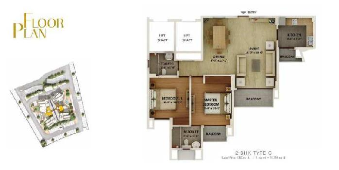 2 BHK 1250 Sq.ft. Residential Apartment for Sale in Amar Shaheed Path, Lucknow