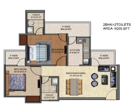 2 BHK 1005 Sq.ft. Residential Apartment for Sale in Sector 1 Greater Noida West