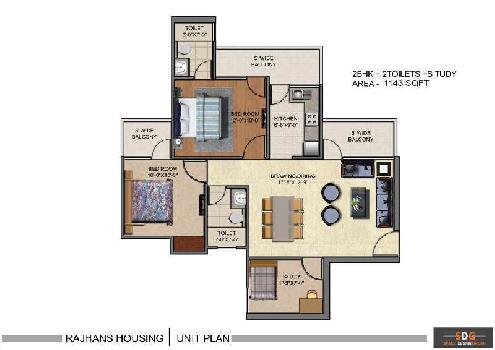 2 BHK 1143 Sq.ft. Residential Apartment for Sale in Sector 1 Greater Noida West
