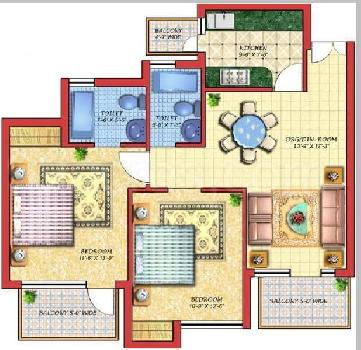 2 BHK 1235 Sq.ft. Residential Apartment for Rent in Crossing Republik, Ghaziabad