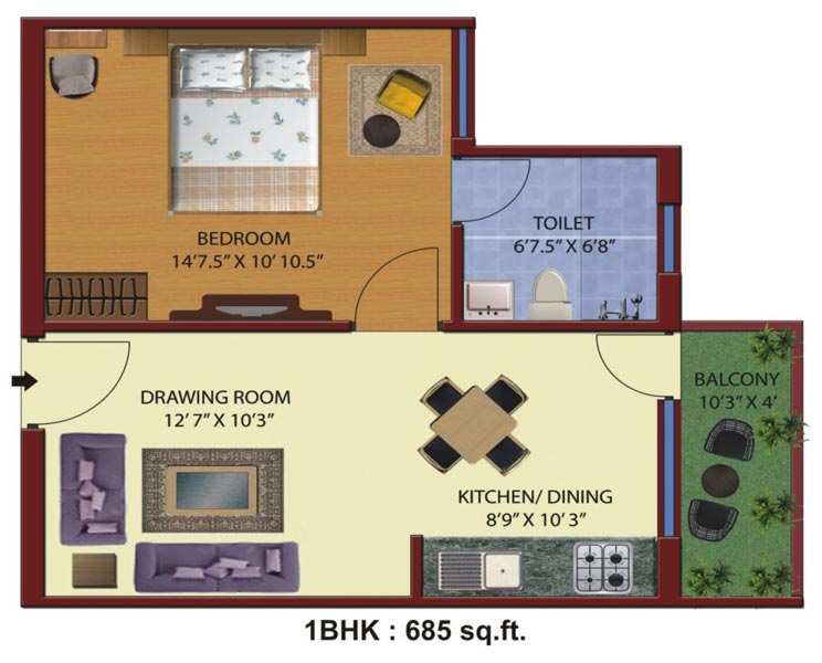 1 BHK 685 Sq.ft. Residential Apartment for Sale in Haridwar Highway, Roorkee