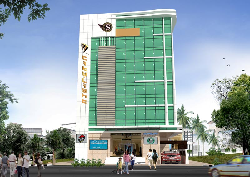 Commercial building elevation in kerala for Kerala residential building elevations