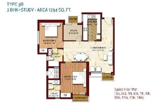 2 BHK 1234 Sq.ft. Residential Apartment for Sale in Sector 143 Noida