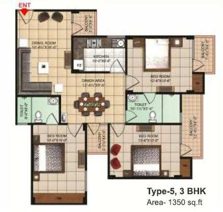 3 BHK Flats & Apartments for Sale in Dhanuha, Allahabad - 1350 Sq. Feet