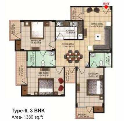 3 BHK Flats & Apartments for Sale in Dhanuha, Allahabad - 1380 Sq. Feet