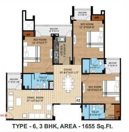 3 BHK Flats & Apartments for Sale in Naini, Allahabad - 1655 Sq. Feet