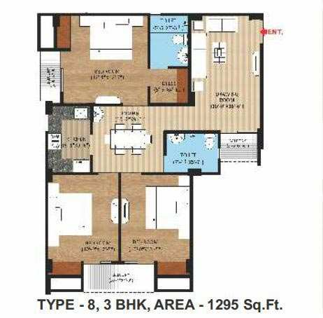 3 BHK Flats & Apartments for Sale in Naini, Allahabad - 1295 Sq. Feet