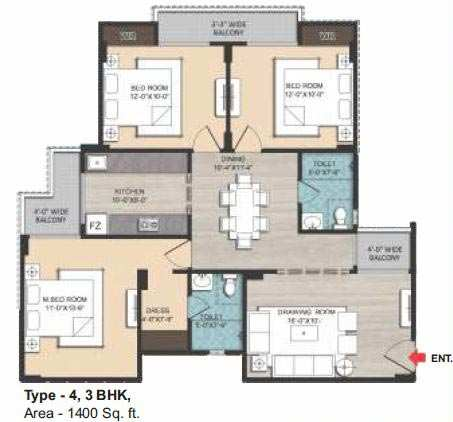 3 BHK Flats & Apartments for Sale in Jhusi, Allahabad - 1400 Sq. Feet