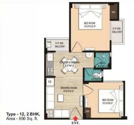 2 BHK Flats & Apartments for Sale in Jhusi, Allahabad - 656 Sq. Feet